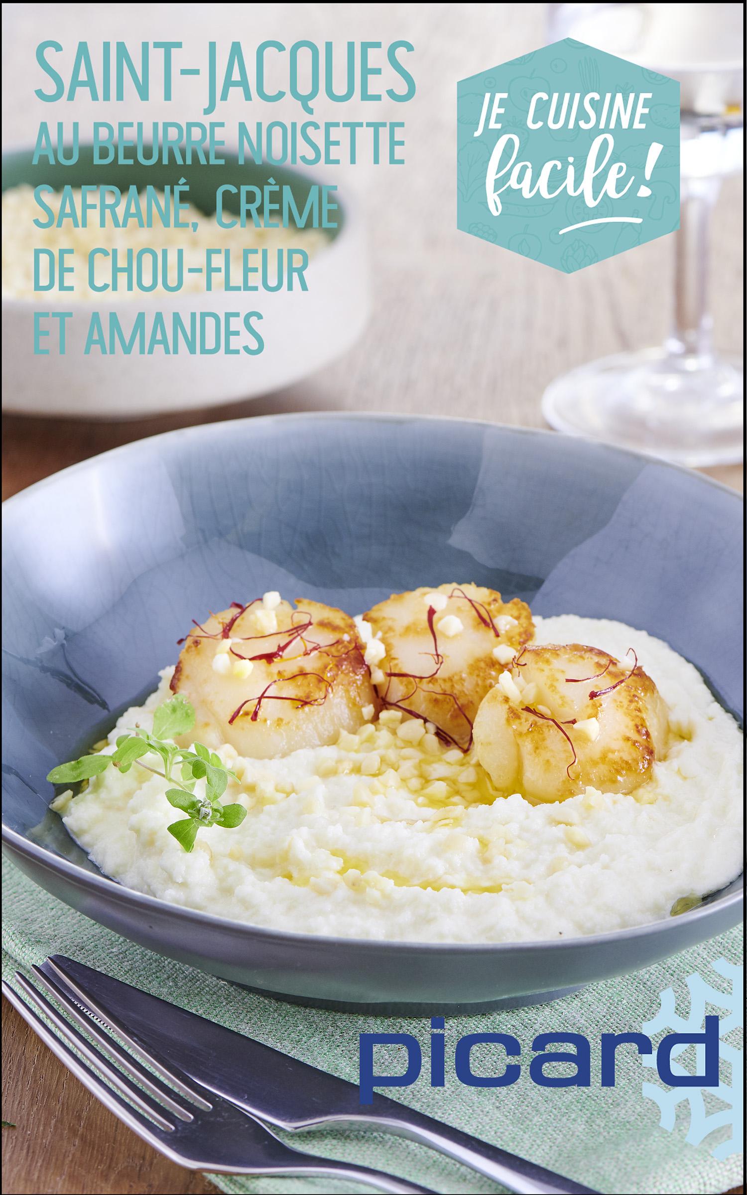 St Jacques au beurre noisette safrané, crème de choux-fleur et amandes - DR Picard